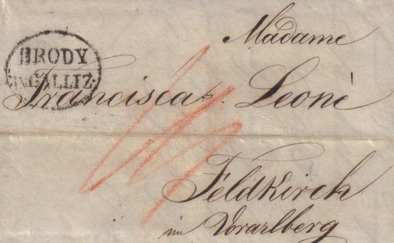 letter from Brody in Galliz (Ukraine) 1830